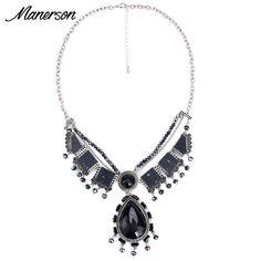 New Fashion Women 2016 Small Cheap Vintage Black Gem Necklace Pendant Collier Femme Bib Collar Boho Maxi Retro Jewelry Accesory