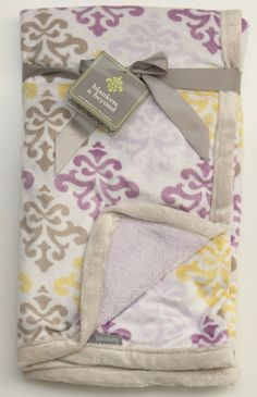 Baby Blankets & Beyond Baby Girl Blanket ~ Purple, Gray & Yellow Damask Print ~ #BabyBlanketsandBeyond