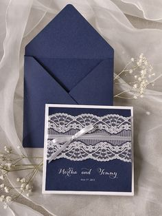 Vintage Lace Navy Blue Wedding Invitations @4LOVEPolkaDots