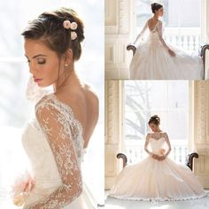 Wholesale Sheer Lace Long Sleeves Open Back Royal Ball Gown Wedding Dresses 2014 New Arrival, Free shipping, $188.48/Piece | DHgate Mobile