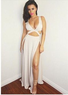 9d951f85254cf Cropped deep v neck long dress high slit maxi dress double split evening  Sexy Dresses