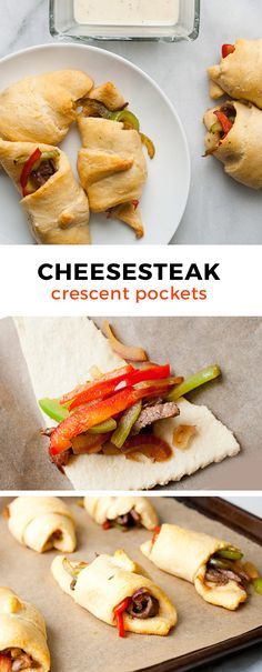 Delicious steak- and pepper-filled crescent rolls with a quick from-scratch cheese dipping sauce. Sliced Sirloin, peppers, and onions wrapped in delicious dough with a cheese sauce!
