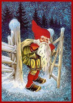 Christmas Hacks, Christmas Scenes, Noel Christmas, Vintage Christmas, Christmas Crafts, Swedish Christmas, Scandinavian Christmas, Vintage Greeting Cards, Vintage Postcards