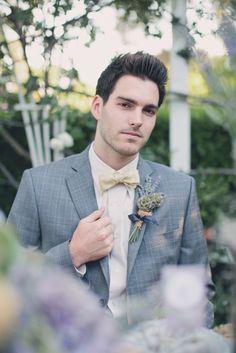 wedding fashion_custom groom's suit and bow tie   Mark Padgett Wedding Design