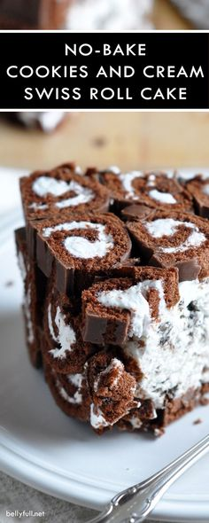 This no-bake cookies and cream swiss roll cake is the ultimate treat with layers of sliced Swiss Rolls and a creamy Oreo cheesecake filling.