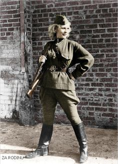 Soviet sniper, Leningrad front, 1942. The people in arms. The USSR produced many women heroes, and many served as snipers, recon specialists, and even fighter pilots.