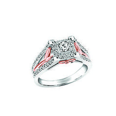 Two Tone 14k Rose And White Gold Ring Fire Ice Canadian Diamond 75tw