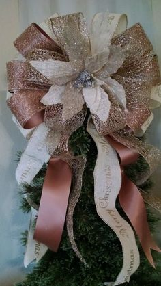 Extra Large Burlap Tree Topper - Christmas Tree Topper Bow - Poinsettia Tree Topper - Ivory Burlap Gold and Mauve Tree Topper Bow by BasketsFromAtoZ on Etsy