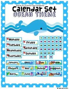 This is an ocean themed calendar set used to decorate and educate in your classroom.  This set is a portion from my Ocean Themed Classroom Decor Bundle.