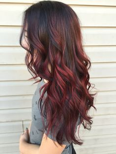 Balayage Wig Lave Front Human Hair Wave Off Black # Highlighted with Red Wine . Balayage Wig Lave Front Human Hair Wave Off Black # Highlighted with Red Wine # (Wave / # Ombre Hair Color, Hair Color Balayage, Cool Hair Color, Bayalage, Red Balyage, Red Balayage Hair Burgundy, Copper Balayage Brunette, Red Brunette Hair, Black Balayage
