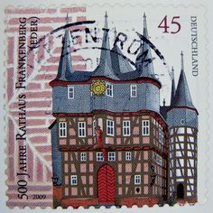 great stamp Germany 45c 500th anniversary of City Hall Frankenberg (Fachwerk, timber framing, Maison à colombages)