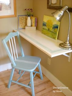 1930's Cottage Industrial style home tour - Debbiedoo's you must ck this out, so much to see. THIS DESK i love for its stencil and practical simpicity