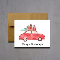 Christmas Cards - Car with Presents and Christmas Tree - Christmas Greeting Cards - Holiday Cards - Happy Holidays - Watercolor Xmas Cards by HeartwoodPaperie on Etsy https://www.etsy.com/listing/246811543/christmas-cards-car-with-presents-and