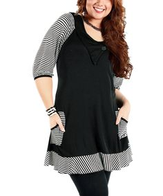 Another great find on #zulily! Black & White Stripe Tunic - Plus by Aster #zulilyfinds