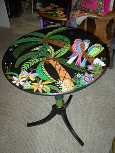 Painted parrot table by Marie Lloyd