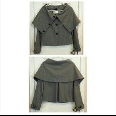 "7 for all mankind Exaggerated Collar Jacket Cute, NWT, 7 for all mankind exaggerated collar jacket. Patent leather ""knot"" style buttons. Collar not tact down, can be pulled over head. This jacket fits bigger - would totally fit a small. 7 for all Mankind Jackets & Coats"