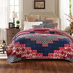Tache Pink Blue Patchwork Quilt  Aztec Festival  Cotton Cottage Bohemian Floral Patchwork Reversible Quilt Bedspread Set  3 Piece King ** Continue to the product at the image link. (This is an affiliate link)