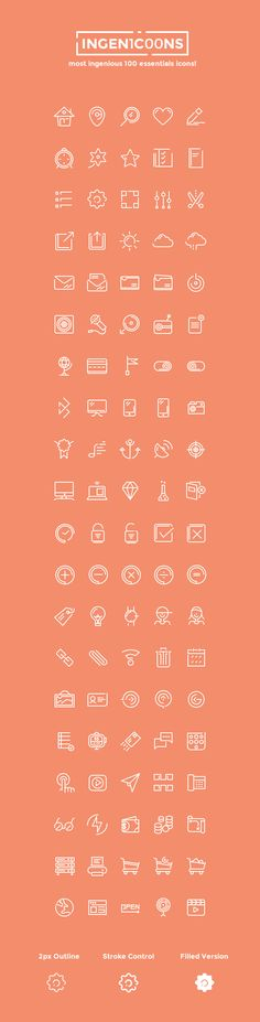 Ingenicons - 100 Icons Set, #AI, #Free, #Graphic #Design, #Icon, #Outline, #PNG, #PSD, #Resource