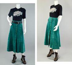 2f3caa7bc 70s High Waisted Maxi Skirt Vintage, Long Green Suede Skirt, Button Down  A-Line Skirt, 70s Leather Skirt, 70s Western Wear Skirt, Women's 12