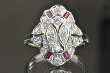 1.14 Carat Diamond and Ruby Art Deco Ring by Timeless Antiques on Rubylane.com, $1,800