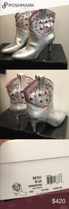 MARC JACOBS SS16 Georgia Cowboy Boot 🌟🌟BRAND NEW MARC JACOBS SS16 Georgia Cowboy Boot in Silver with red detail. BRAND NEW 🌟🌟 size 38 (EU), size 8 (US). I bought these for myself but I wasn't paying attention and bought the wrong size! Never before worn !!! PERFECT CONDITION! Comes with original box and Marc Jacobs show bag! Make me offers !!! 🌟 Marc Jacobs Shoes Ankle Boots & Booties