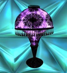 GOTHIC VICTORIAN WROUGHT IRON PURPLE GLASS UMBRELLA LAMP