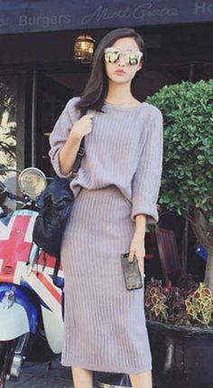 Fashiontroy Street style long sleeves crew neck blue grey ribbed-knit sweater + back slit midi skirt set