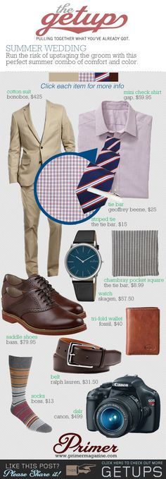 The Getup: Summer Wedding            Run the risk of upstaging the groom with this perfect summer combo of comfort and color.