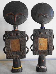 2 large africain fertility dolls - Akuaba, ASHANTI, FANTI - Ghana
