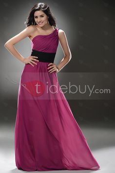 安価な床長さウェディングガールバイオレットワンショルダーイブニングドレス