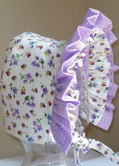 Baby Bonnet- Spring Garden- Baby Hat- Reversible. $20.00, via Etsy.