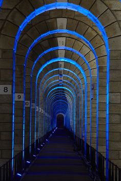 Chaumont Viaduct, France. Lighting design: Jean-François Touchard - Lighting products: iGuzzini illuminazione - Photographed by Didier Boy de la Tour #iGuzzini #Light #Lighting #corridor #color