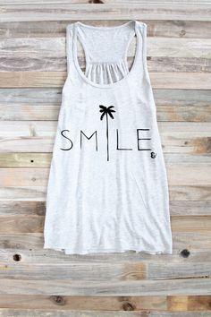 Beach Lover Tank - Surfer Girl - Surfer Shirt - Surf Shirt - Surf Style - Beach Tank - Palm Trees - Tank Top - Smile Tank - Womens Tank by PowderAndSea on Etsy https://www.etsy.com/listing/253947208/beach-lover-tank-surfer-girl-surfer