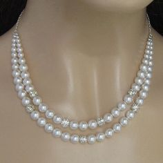 Double Strand Pearl Necklace  Rhinestone Fire Ball by JaniceMarie, $57.00