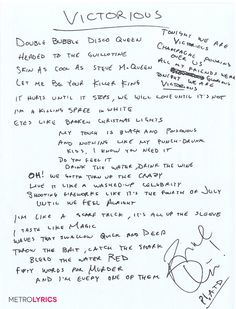 Enter to Win Handwritten Lyrics From Panic! At the Disco