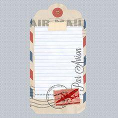 Vintage Airmail Postage Stamp Journaling Tag Pocket Card Freebie