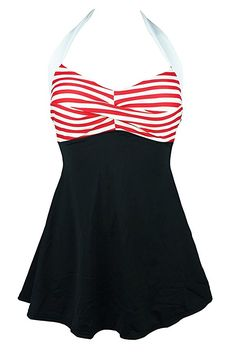 51fffd2118 Cocoship Vintage Sailor Pin Up Swimsuit One Piece Skirtini Cover Up  Swimdress(FBA) at Amazon Women's Clothing store: