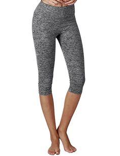 d40eecea00 Yoga Reflex Womens Tummy Control Active Tights Yoga Running Leggings Capris  Charcoalheather XXXLarge -- Be