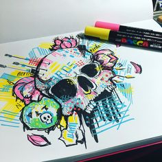Playing around with new markers #posca #poscamarkers Let me just tell you... they do not like this paper! #skulls #skullart #graffitart #skulladdiction #n3rds #dopeart #illustration #artnerd #glitch #acompanyofn3rds #imayneednewglasses #anartistlifeforme
