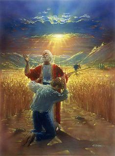 """O Pródigo. Ron DiCianni (Chicago, IL, USA - ). """"Mas enquanto ele ainda estava longe, seu pai o viu e, cheio de compaixão por ele; ele correu para seu filho, jogou os braços ao redor dele e beijou-o."""" Lucas 15:20. Fotografia: http://www.tapestryproductions.com"""