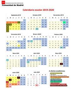Calendario Escolar 2019-2020 Madrid – Información y Orientación Pinto Periodic Table, School Holidays, School Calendar, Senior Boys, Fiestas, Periodic Table Chart