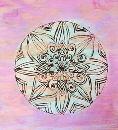 Wood Burned Mandala Art Painted With Acrylics Pink And Green 12 x 12 Wall Decor Hipster Grunge (25.00 USD) by SerenityGiftStore