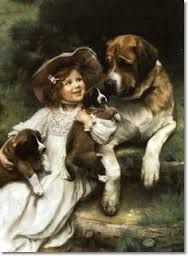 Image result for paintings with girl standing in corner with dog