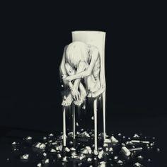 108 Powerful Illustrations By Japanese Artist That Will Make You Think Art And Illustration, Dark Art Illustrations, Anime Negra, Drawing Feelings, Sun Projects, Depression Art, Arte Obscura, Deep Art, Sad Art