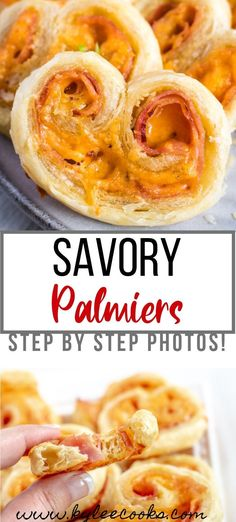 Easy to make, and fast to disappear, these Savory Palmiers will be the star of any table! Make ahead, and bake as your guests arrive - yummy! Easy Appetizer Recipes, Healthy Appetizers, Appetizers For Party, Dinner Recipes, Dessert Recipes, Party Recipes, Healthy Food, Ham And Cheese, Clean Eating Snacks