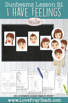"""Primary 1 Sunbeams Lesson 21: """"I Have Feelings"""" Printable Lesson Packet includes printables, feelings posters and puppets, mini coloring book, and more! www.LovePrayTeach.com #LovePrayTeach #Sunbeams #Feelings #LDS"""