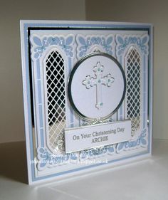 Christening Card - Dies used - Spellbinders Crosses 2 and A2 Matting Basics B, Creative Expressions / Sue Wilson Lattice Window, Canadian Border Corner and Tag, Tonic Studios Plain Layering Circles. Centura Pearl Snow White Gold Card Stock from Crafters Companion.