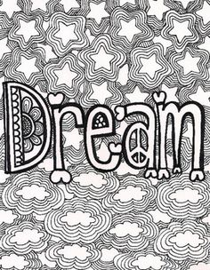This coloring page is saved as a PDF. It says the word Dream with clouds and stars.