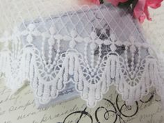"""Elegant Embroidery Crown Lace 5"""" - White by NatashaScrapbooKorner, $5.69 USD"""