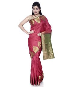 """Mandakini - Indian Women's Kanchipuram - Handloom - Pure Silk Saree (Dark Red) - Winter Collection - Mandakini Kanchipuram (Kanjivaram) Pure Silk Sarees""""Elegance of a woman and charm of her smile, nothing can top that, till she puts on her mother's saree (sari) for the first time.""""Mandakini brings you wide range of Kanchipuram Handloom Pure Silk Saree with Blouse Piece. These Sarees (saris) have..."""